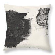 Diddybigface And Colliebeastie Throw Pillow