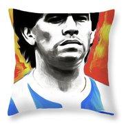 Diego Maradona By Nixo Throw Pillow