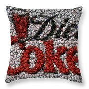 Diet Coke Bottle Cap Mosaic Throw Pillow by Paul Van Scott