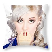Diet Woman Covering Mouth With Secret Recipe Spoon Throw Pillow