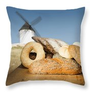 Different Breads And Windmill In The Background Throw Pillow by Deyan Georgiev