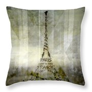 Digital-art Paris Eiffel Tower Geometric Mix No.1 Throw Pillow by Melanie Viola