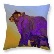 Digital Black Bear Sow And Cub Throw Pillow