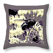 Digital Bottle Fly Throw Pillow