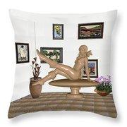 digital exhibition _ Sculpture 12 of girl  Throw Pillow