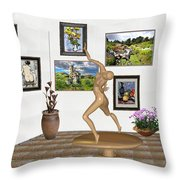 digital exhibition _ Statue 2 of Girl  - Zombie Throw Pillow