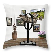 digital exhibition _ Statue  of fish  12 Throw Pillow