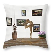 digital exhibition _ Statue of girl 42 Throw Pillow
