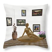 digital exhibition _ Statue of girl 49 Throw Pillow