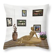 digital exhibition _ Statue of girl 52 Throw Pillow