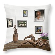 digital exhibition _ Statue of Girl 6 Throw Pillow