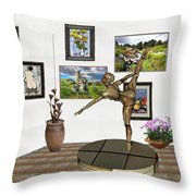 digital exhibition _ Statue of girl acrobat 35 Throw Pillow
