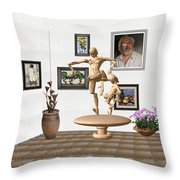 digital exhibition _ Statue of  Mother and child zombies Throw Pillow