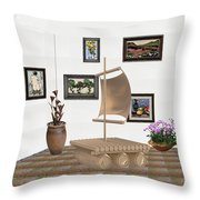 digital exhibition _ Statue raft with sails 3 Throw Pillow