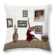 Digital Exhibition _dancing Girl 221 Throw Pillow