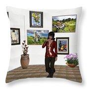 Digital Exhibition _posing Girl 221 Throw Pillow