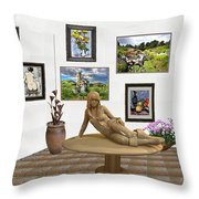 digital exhibition _Statue 1 of posing girl 221 Throw Pillow