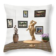 digital exhibition  Statue 23 of posing lady  Throw Pillow