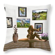 digital exhibition _Statue 4 of posing girl 221 Throw Pillow