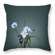 Digital Flower Arrangement Throw Pillow by GuoJun Pan