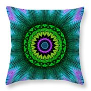 Digital Kaleidoscope Mandala 50 Throw Pillow