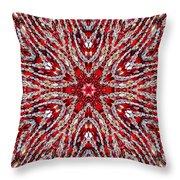 Digital Kaleidoscope Red-white 4 Throw Pillow
