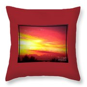 Digital Oil Painting Of Sunset Throw Pillow