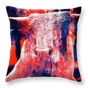 Digital Painting Of A Bull Throw Pillow