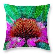 Digital Pink Echinacea  Throw Pillow
