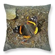 Digital Red Admiral Butterfly - Vanessa Atalanta Throw Pillow