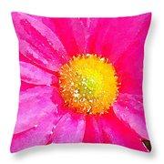 Digital Watercolour Of A Pink Daisy Pollen Flower Throw Pillow
