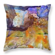 Digital_blue And Orange Orgasm Throw Pillow