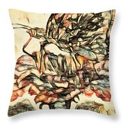 Digitally Enhanced Sketch Of Butterfly On A Flower Throw Pillow