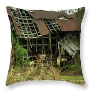 Dilapidated Barn Morgan County Kentucky Throw Pillow
