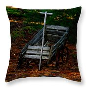 Dilapidated Wagon Throw Pillow