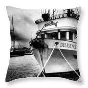Diligence Bw Throw Pillow