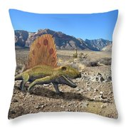 Dimetrodon In The Desert Throw Pillow