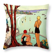 Dinard, French Riviera, Two Swimmers  Throw Pillow