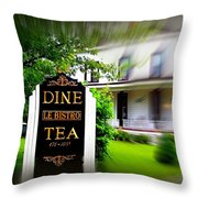 Dine Le Bistro Tea Throw Pillow