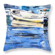 Dinghies At High Tide Throw Pillow