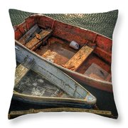 Dinghies At Rockport Throw Pillow