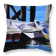 Dinghies At The Dock Throw Pillow
