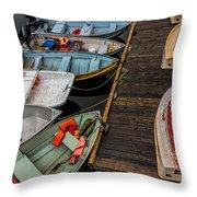 Dinghies At Town Wharf Throw Pillow