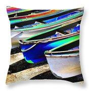 Dinghies On Beach Throw Pillow