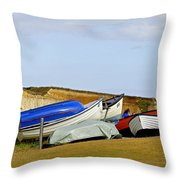 Dinghy Park At Freshwater Bay Throw Pillow