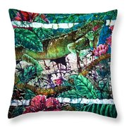 Dining At The Hibiscus Cafe - Iguana Throw Pillow