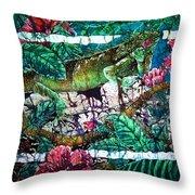 Dining At The Hibiscus Cafe - Iguana Throw Pillow