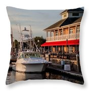 Dining At The Marina Throw Pillow