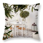 Dining In The Courtyard Throw Pillow