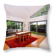 Dining Room With Slanted Ceiling Throw Pillow